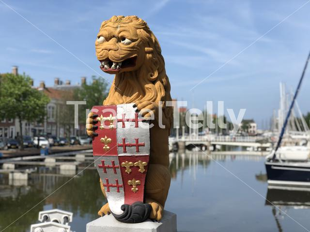 Statue at the Lion's Bridge in Harlingen, Friesland The Netherlands