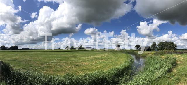 Panorama from a windmill in Winsum, Friesland The Netherlands