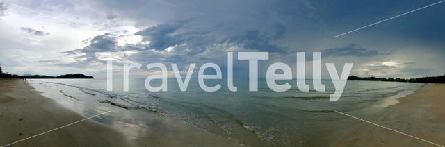 Panorama from cloudy Klong Dao Beach on Koh Lanta Thailand