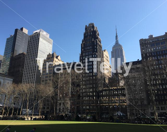 Bryant Park in Manhattan, New York City. The Empire State Building is in the background.
