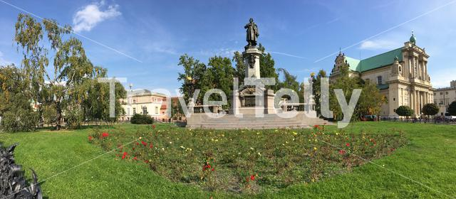 Panorama from the Adam Mickiewicz Monument  and Carmelite Church in Warsaw Poland