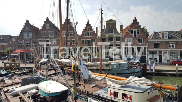 Old canals houses in harbor Hoorn