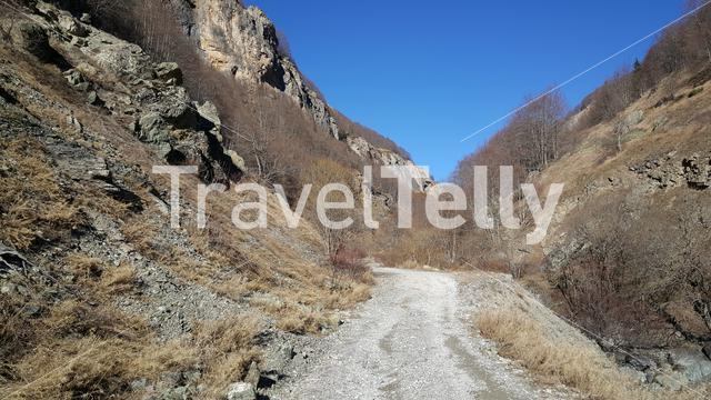 Gravel road through the Mavrovo National Park in Macedonia