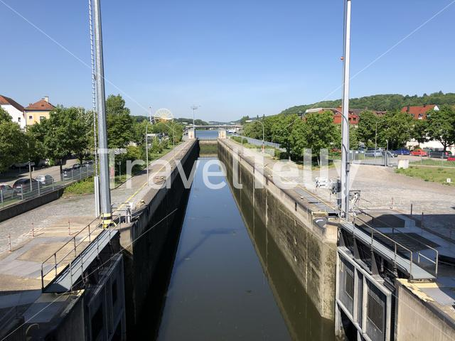 Canal lock at the danube river in Regensburg, Germany