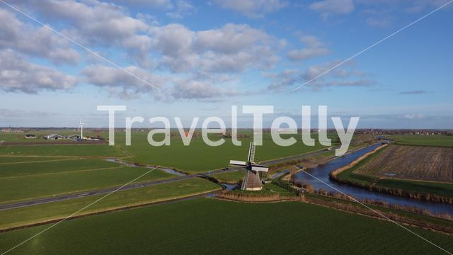 Aerial view from a windmill around Wommels in Friesland The Netherlands