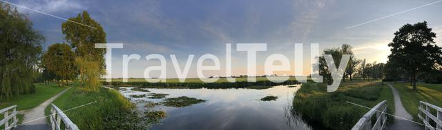 Panorama from a lake around Sneek in Friesland, The Netherlands