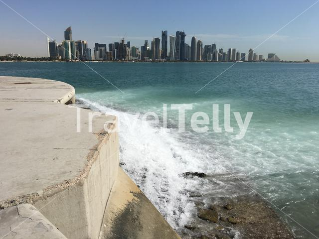 Water stream with at the background the skyline from Doha Qatar