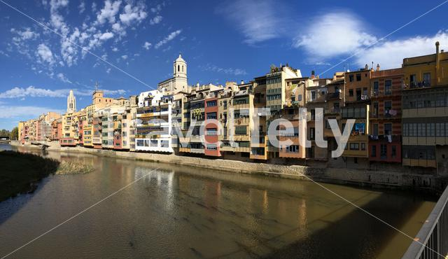 Panorama from the Onyar river in Girona, Spain