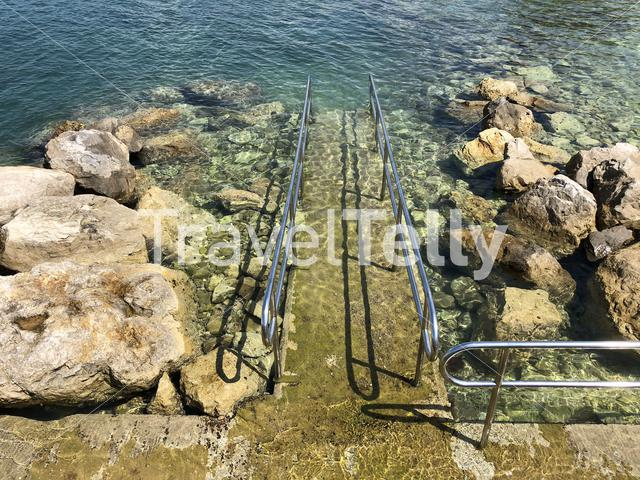 Wheelchair way in to the sea around Valbandon Croatia