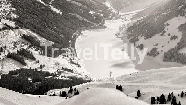 Wintersport in Koningsleiten, view on the Stausee Durlassboden in Austria