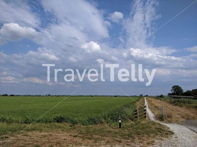 Walk and cycling path around Rotstergaast in Friesland The Netherlands