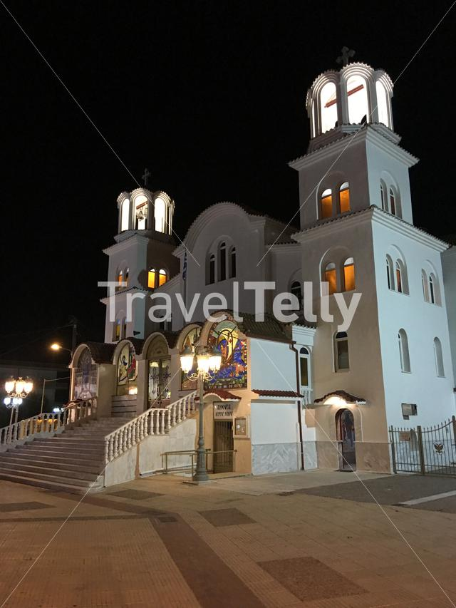 St Paraskevi Church at night in Paralia Greece