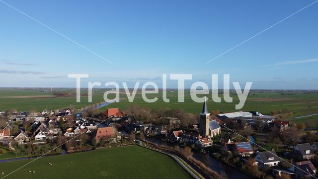 Aerial view from the town Burgwerd in Friesland The Netherlands
