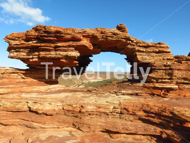 Natures Window is a natural arch carved from red rock in Kalbarri National Park