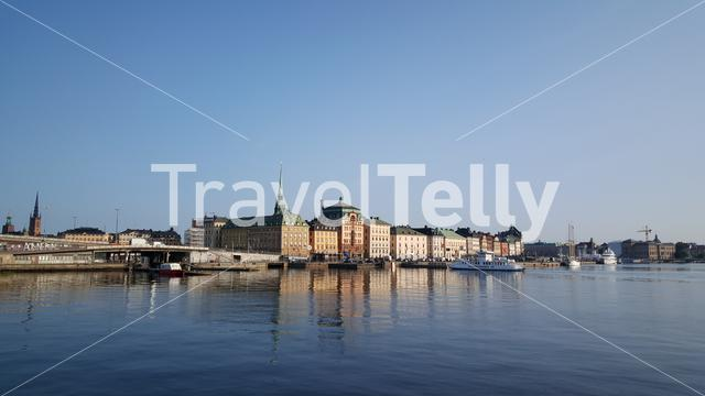 Ferry arriving at Gamla stan old town in Stockholm Sweden