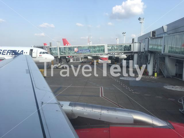Waiting for take off with Air Serbia at Belgrade Airport