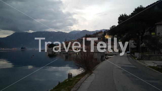 Village Perast in the evening