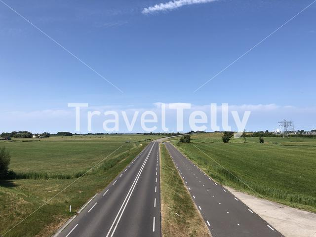 Highway towards the city Franeker in Friesland The Netherlands