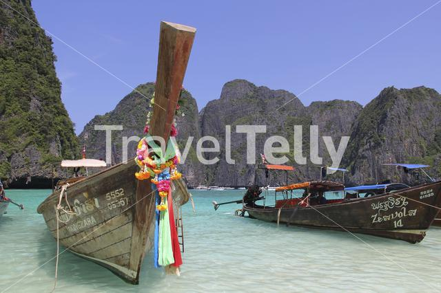 Maya Bay beautiful bay that's sheltered by 100-metre high cliffs on three sides Phi Phi Island Thailand