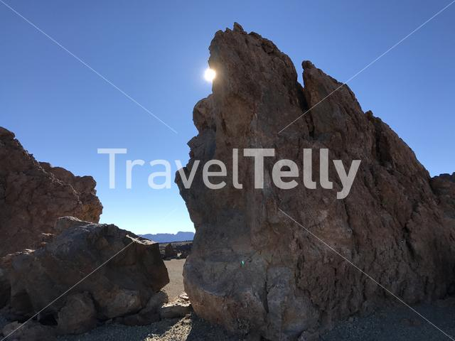 Sunshine at a landscape around Mount Teide a volcano on Tenerife in the Canary Islands