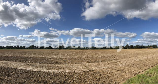 Panoramic scenery from farm land around Megchelen in The Netherlands