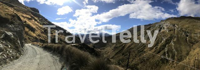 Panorama landscape from a road around Mountain Peak The Coronet in Southern New Zealand