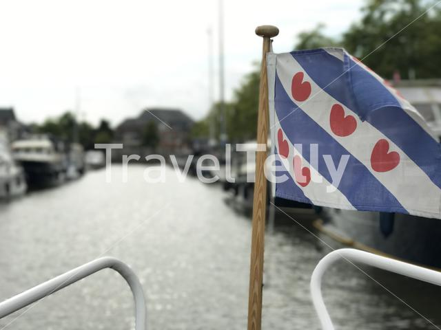Frisian flag at a boat in Sneek Friesland The Netherlands