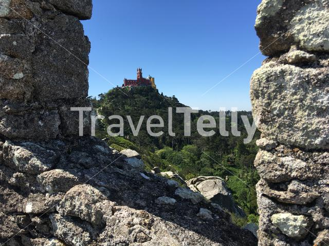 Pena Palace seen from Castelo dos Mouros in Sintra Portugal