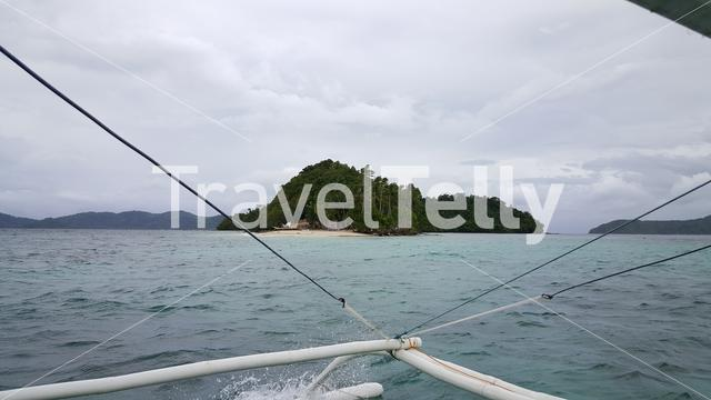 On the way to tropical island with bangka boat