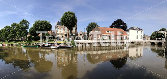 Panorama from the canal around Harlingen, Friesland The Netherlands