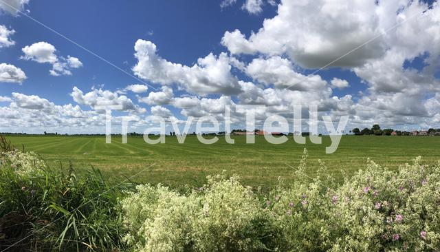 Panorama from farmland around Easterwierrum in Friesland The Netherlands