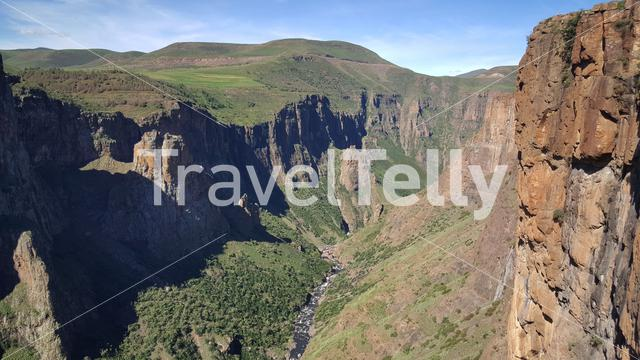 Scenery of the Maletsunyane Falls in Lesotho Africa