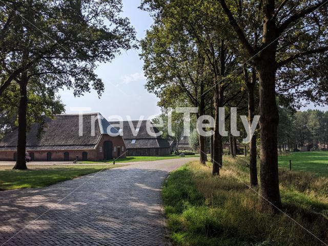 Road through the village of Stokkum, Overijssel The Netherlands