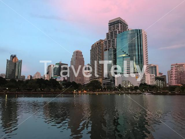 Benjakitti Park during sunset in Bangkok Thailand