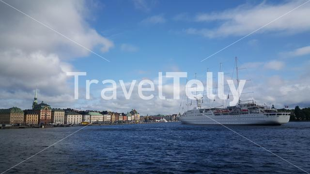 Cruise ship Wind Surf arriving in Gamla Stan Stockholm Sweden