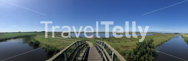 Panoramic from zwagermieden nature reserve in Friesland The Netherlands