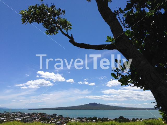 Rangitoto Island from Mount Victoria in Auckland New Zealand