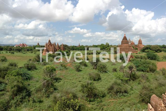 """Panorama from pagodas and the Thatbyinnyu Temple, Sabbannu or """"the Omniscient"""" in Bagan"""