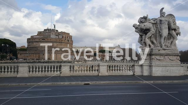 Ponte Vittorio Emanuele II with the Castel Sant Angelo at the background in Rome Italy