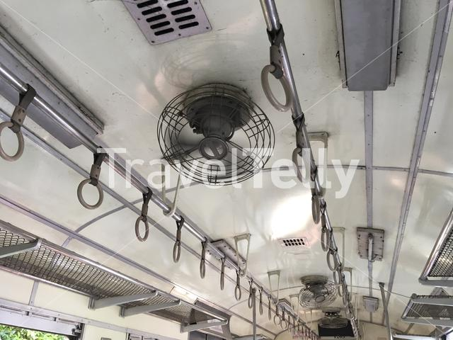 Fan air conditioner in the train in Thailand