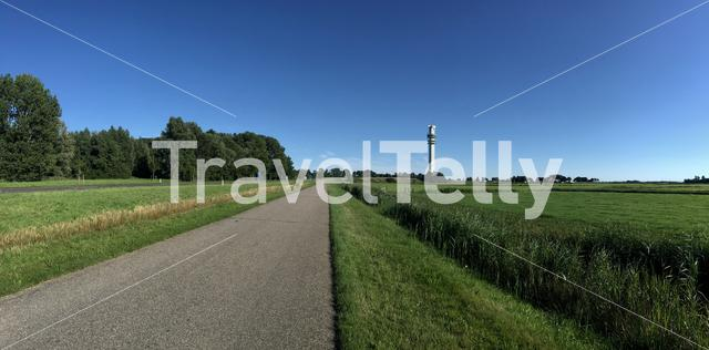 Panorama from the road to the telecommunication tower in Spannenburg Friesland The Netherlands