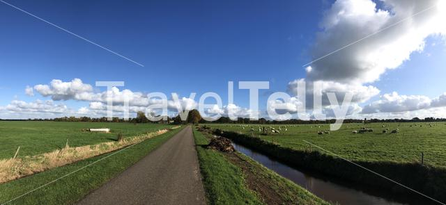Panorama from a road around Steggerda in Friesland, The Netherlands