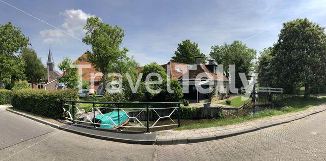 Panorama from the village Poppenwier in Friesland The Netherlands