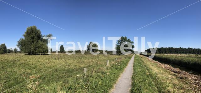 Panorama from a path through Lauwersmeer National Park, Friesland The Netherlands