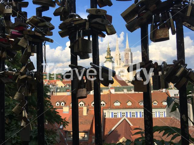 Love locks with Zagreb Cathedral in Croatia
