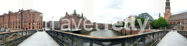 Panorama from the Zollkanal in Hamburg, Germany