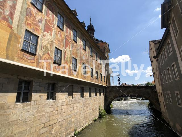 Bridge over the Linker regnitzarm river in Bamberg Germany