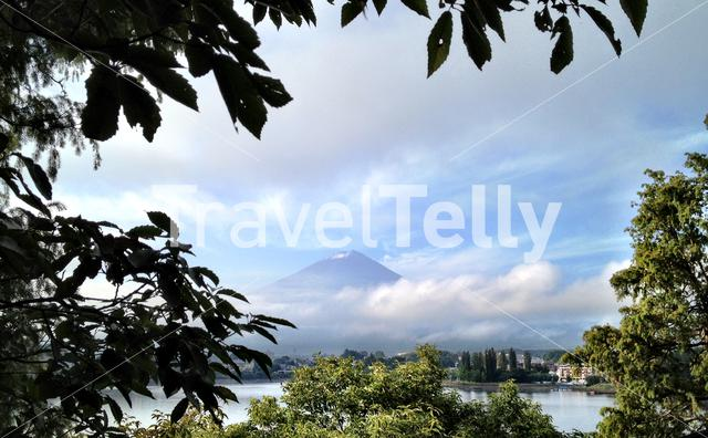 Mount Fuiji an active volcano about 100 kilometers southwest of Tokyo and from Lake Kawaguchi