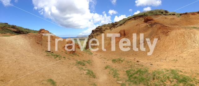 Panorama from a footpath out of Rano Raraku's crater lake at the Easter Island