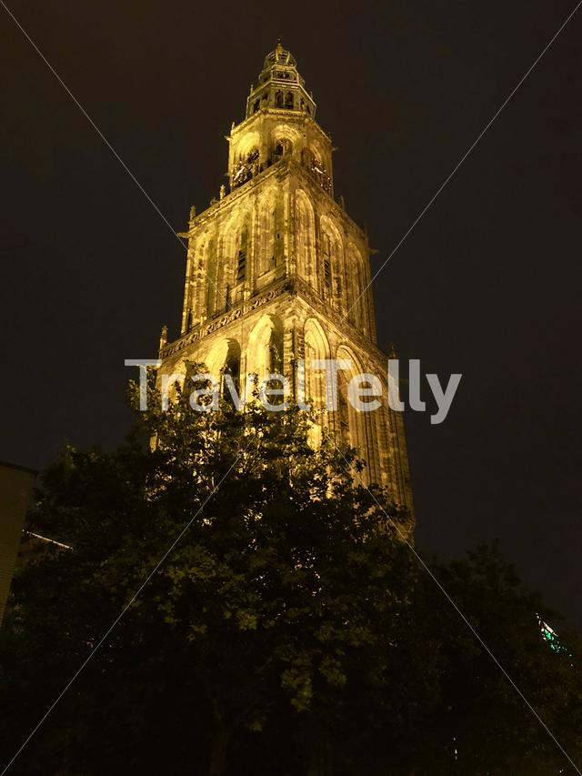 Martinitoren at night in Groningen The Netherlands